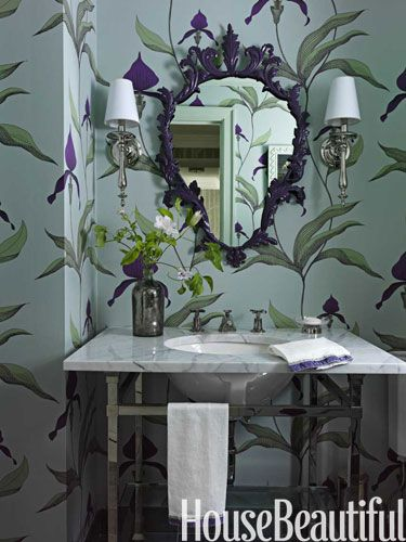 Fairy tale bath. Design: Fawn Galli. Photo: Jonny Valiant. housebeautiful.com #bath #bathroom #orchid_wallpaper #shield_mirror #green