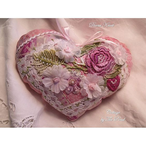 pink pincushion sachet heart: