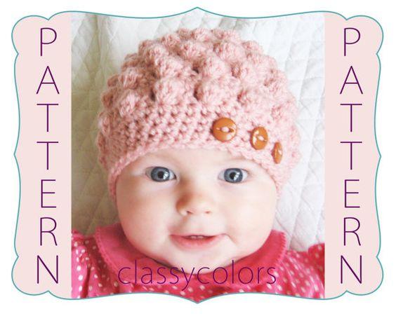 PDF Crochet Pattern : Baby girl crochet hat pattern for bumpy hat