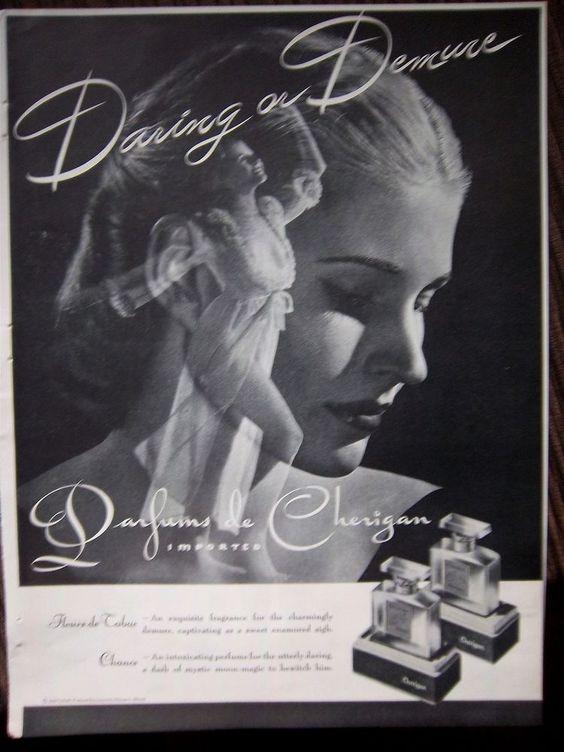 1946 Vintage Parfums de Cherigan Perfume Woman Flowing Lingerie Ad ...