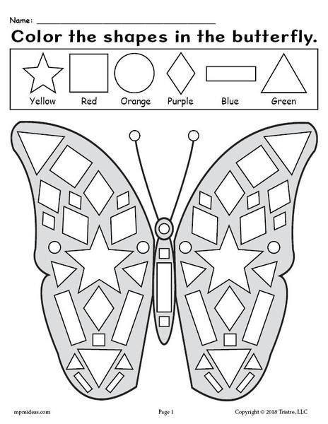 Printable Butterfly Shapes Coloring Pages Shapes Worksheet Kindergarten Shape Coloring Pages Shapes Kindergarten