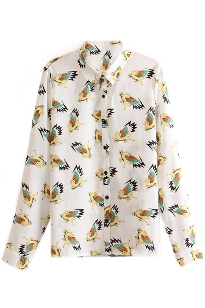ROMWE | Flying Horse Print Buttoned White Shirt, The Latest Street Fashion