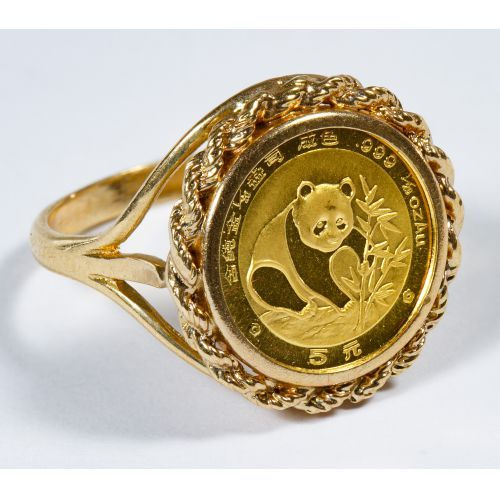 Lot 332 Chinese Gold Panda Coin Mounted In 14k Gold Ring Leonard Auction Sale 231 Gold Coin Ring Gold Rings 14k Gold Ring