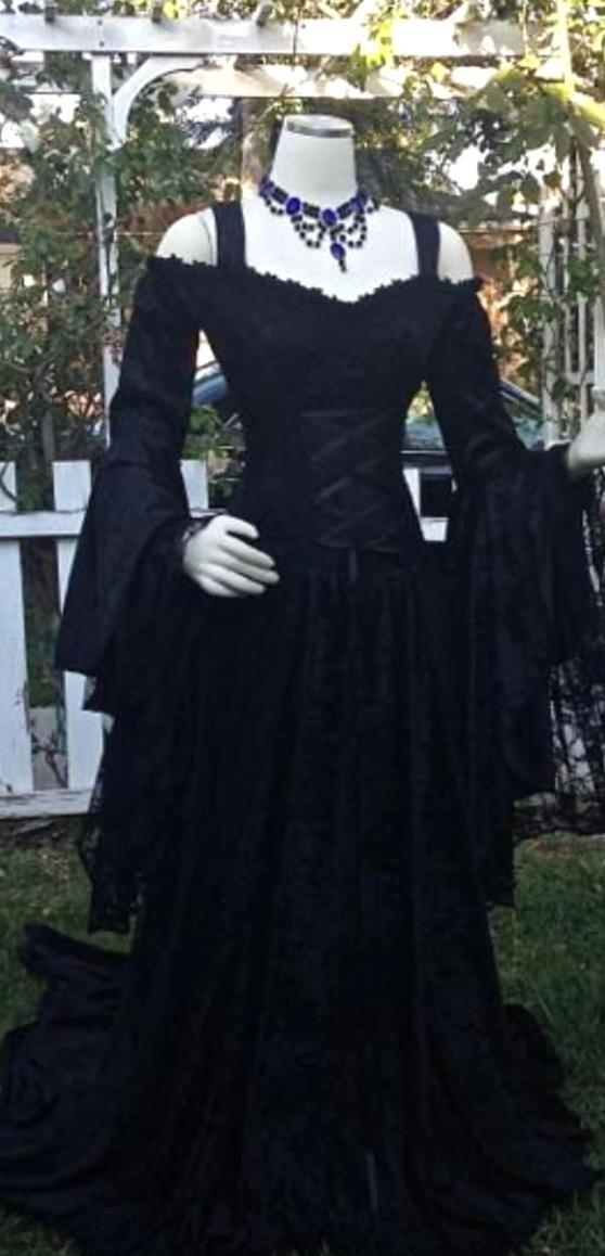 Vintage Black Gothic Wedding Dresses A Line Medieval Off The Shoulder Straps Long Sleeves In 2020 Black Wedding Dresses Black Wedding Dress Gothic Online Wedding Dress