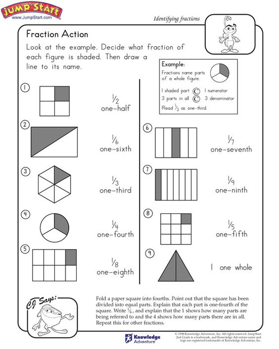 Printables Printable 2nd Grade Math Worksheets action math and 2nd grade worksheets on pinterest fraction jumpstart