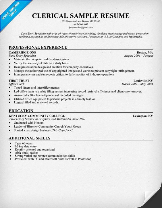 Clerical Resume Sample (resumecompanion) resume Pinterest - sample resume for network administrator