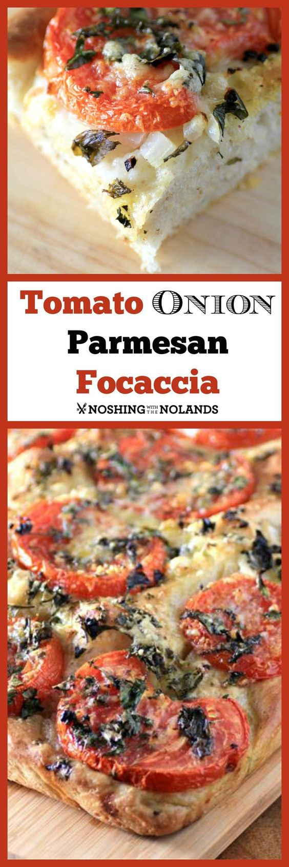Tomato Onion Parmesan Focaccia by Noshing With The Nolands - Fresh garden tomatoes and onions make this a complete meal. A nice bright crunchy salad is all you need to accompany this gorgeous vegetarian lunch or dinner.