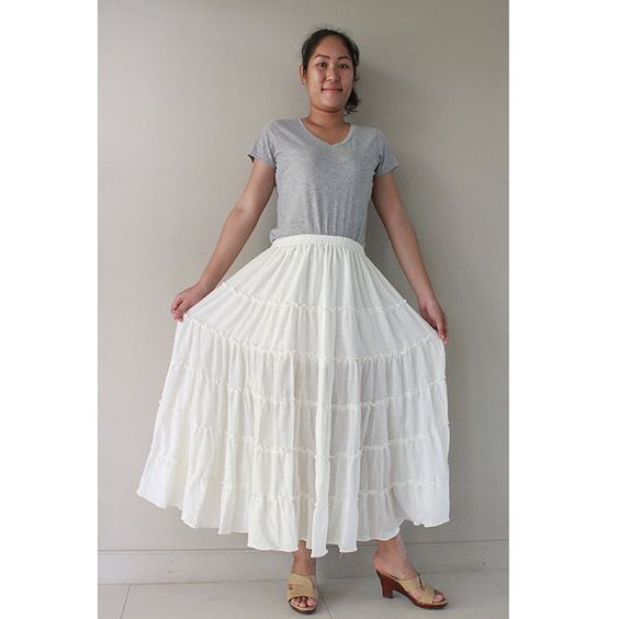 Custom Made Cotton Boho Hippie Long Elastic Waist Ruffle by siam2u