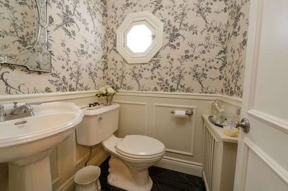 black and white wallpaper powder room