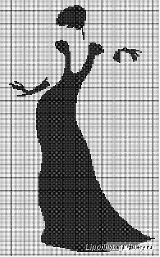0 point de croix silhouette femme robe noire - cross stitch black silhouette of woman: