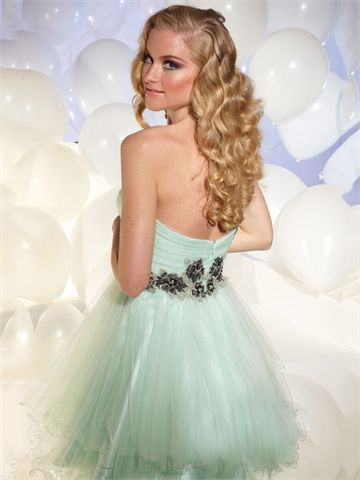 One shoulder Sweetheart Neckline with Lace Appliques Short Tulle Homecoming Dress HD1642 www.homecomingstore.com  $175.0000