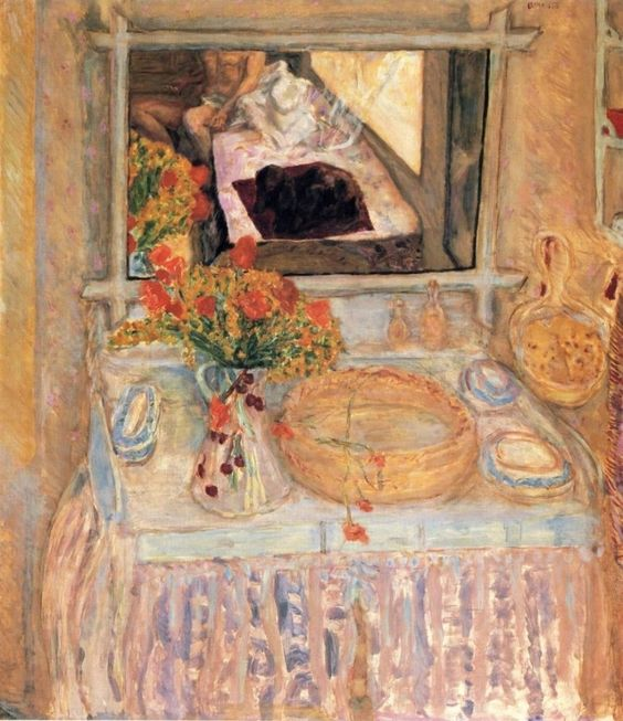 Pierre Bonnard - Toilet with a Bouquet Red and Yellow, Table de Toilet and Mirror, 1913