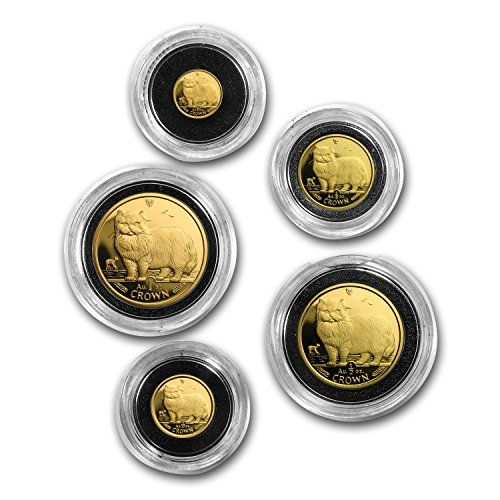 IM 1989 Isle of Man 5-Coin Gold Persian Cat Proof Set (w/o Box