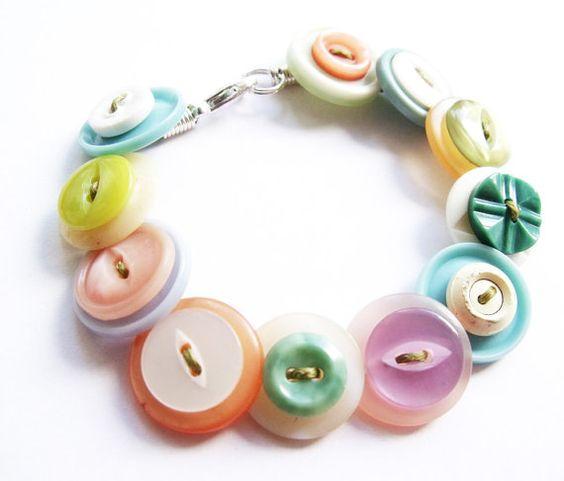 Vintage button bracelet pastel bright floral 50s by realicoul, £10.00