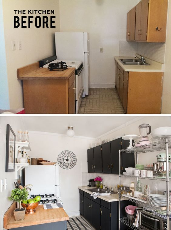 What a great transformation and in a rental too alaina Studio apartment kitchen