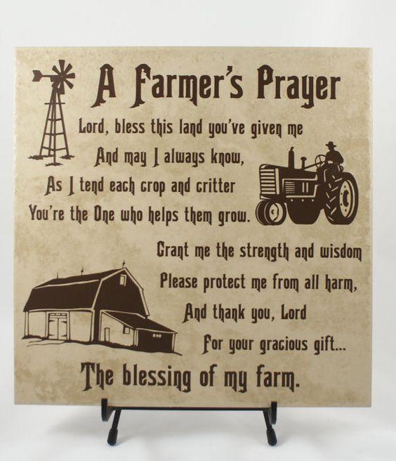 FARMERS PRAYER - American Farmer - Farming Family - Gift for Farmer - Rural Living - Farm Life - FFA - Blessing of a Farm - Farm Family #design #etsymntt