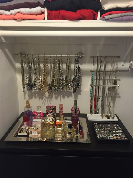 Treasure cave. Perfume and jewelry organization. Dresser display