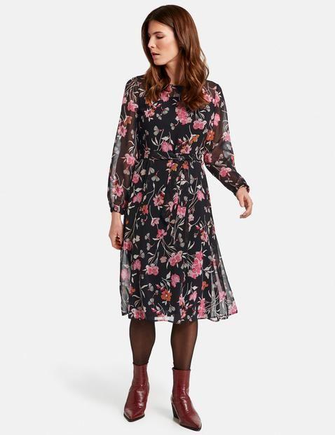 Kleid Mit Flowerdessin Langarmliges Kleid Kleider Lassiges Kleid