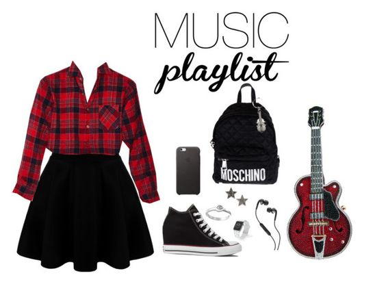 """Music"" by crissydesign ❤ liked on Polyvore featuring Converse, Moschino, Dana Rebecca Designs, Judith Leiber, Skullcandy, Satya Jewelry, Casetify, women's clothing, women and female"