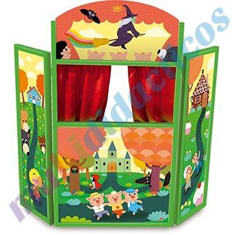 Teatro para marionetas de madera plegable cortinas de - Telas con motivos infantiles ...