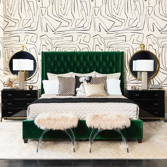 "1,336 Likes, 28 Comments - High Fashion Home (@highfashionhome) on Instagram: """"Give me songs to sing and emerald dreams to dream..."" - Jim Morrison. Our Amelia Bed in Vance…"":"