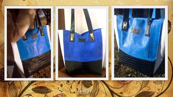 Bolso de cuero azul, negro y blanco - Raiza handbags