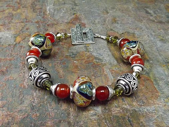 Beaded bracelet with Carnelian gemstones and by thepinkmartini, $60.00