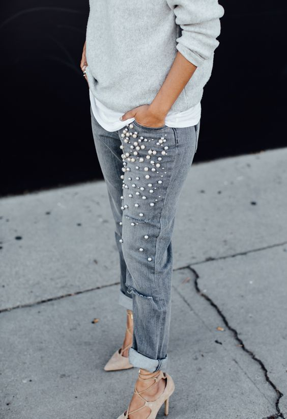 Walk in Wonderland PEARL EMBELLISHED JEANS | Outfits | Pinterest | Grey My life and Walk in