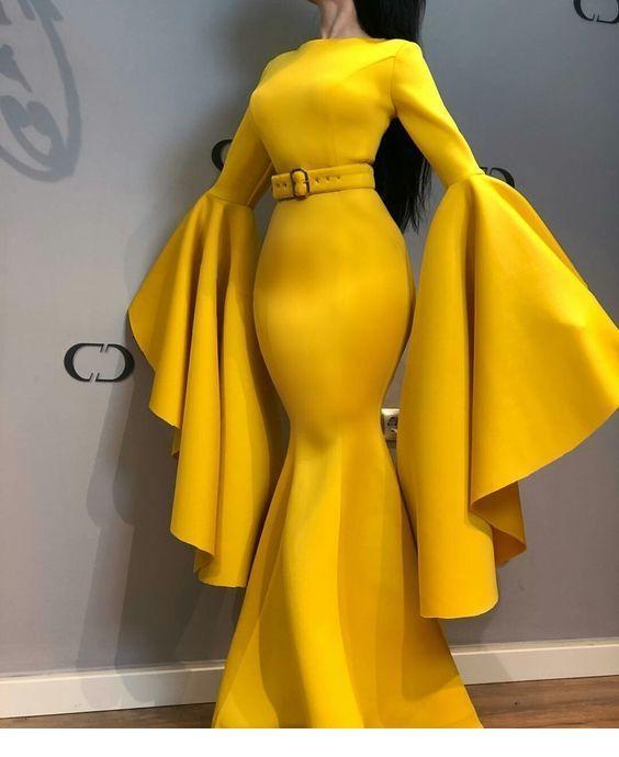 Superb Yellow Dress Chicladies Uk Satin Evening Dresses African Fashion Dresses Prom Dresses Yellow