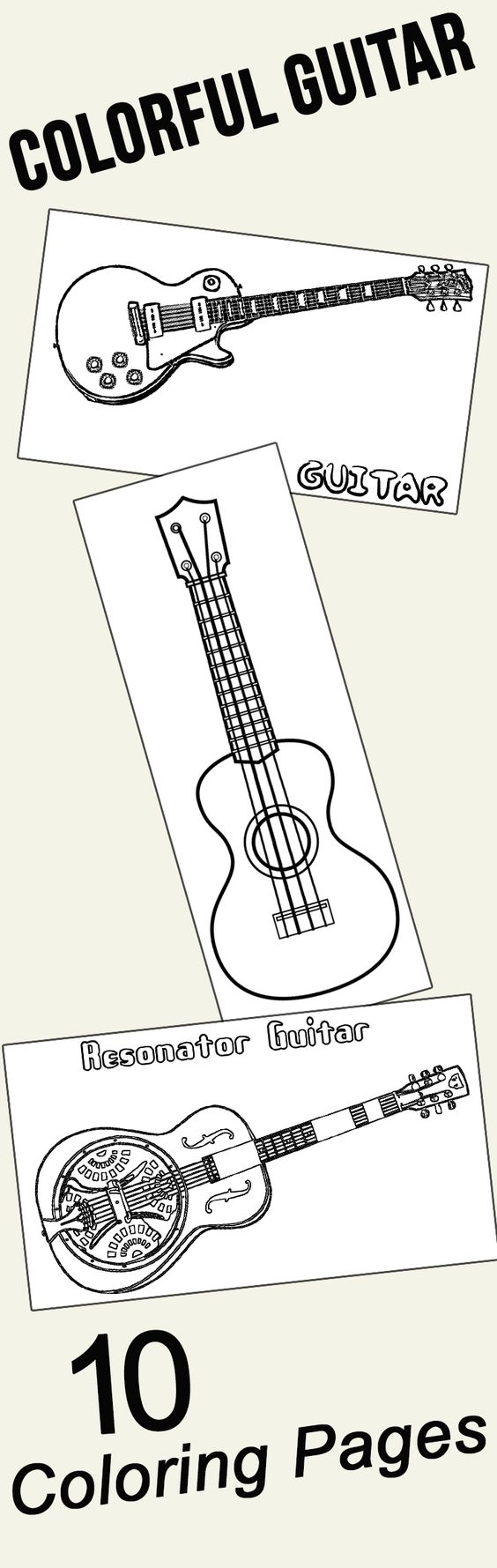 10 colorful guitar coloring pages for your little ones