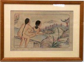 Japanische Seidenmalerei Akt bei der Liebe/ Kamasutra um 1900