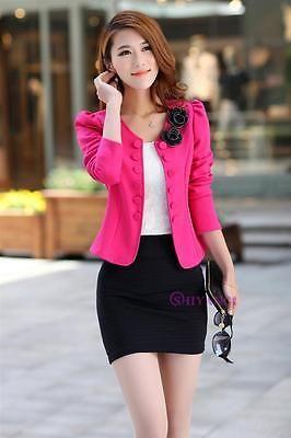 Otoño Mujer Dama Moda Prendas para el torso traje ajustado abrigo chaqueta Blazer Corto de ropa OL