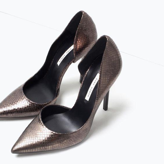 ZARA - WOMAN - Embossed leather court shoe