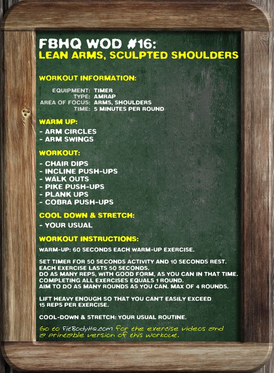 FBHQ WOD #16: Lean Arms, Sculpted Shoulders. FitBodyHQ.com for the printable version and exercise videos.