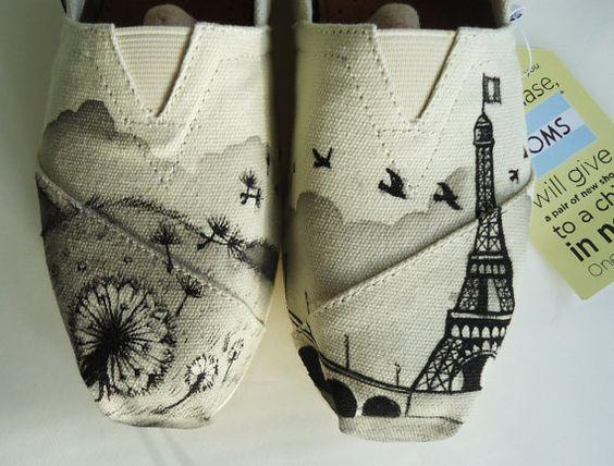 Dandelion Eiffel Tower Toms, Paris Toms. Hand painted Toms Shoes.