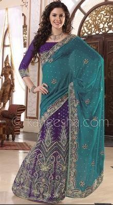 Fancy Purple Georgette Lehanga Style Saree
