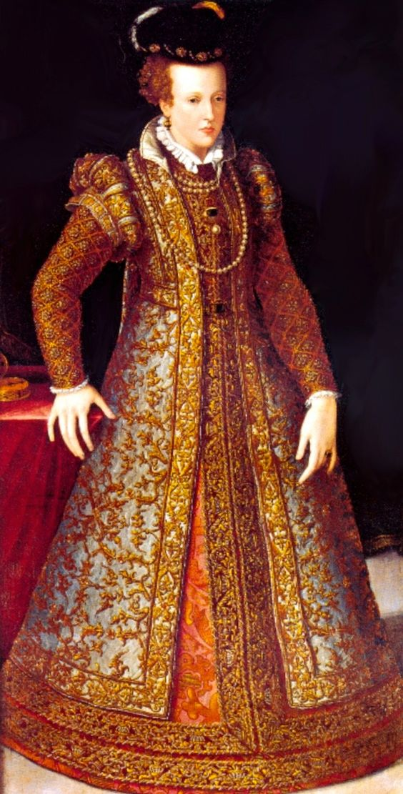 Juana de Austria by Giovanni Bizzelli.  Joanna wears a jacket or over-dress while the under-dress does not have a distinct waistline. She was married for about twelve years and bore seven children so her dress may be serving to conceal a pregnancy, the controversial guardainfante role.