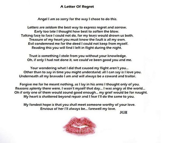 """Not sure why i chose to tell it from that side of """"the fence"""" but at the time it felt right, and still does.  http://poemsbyjgh.blogspot.com/2010/06/letter-of-regret.html"""