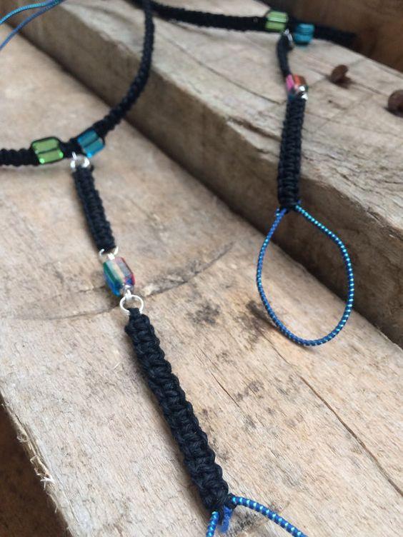 Sandalias Descalzas cáñamo negro con azul verde y por ForestKandi
