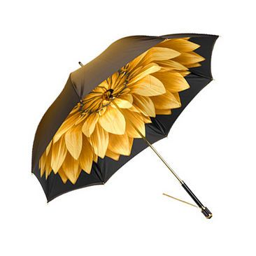 Ladies Umbrella in Gold with Gold Flower - Aspinal of London - prettiest umbrella i've ever seen......