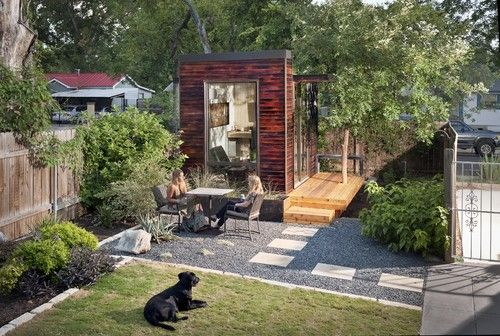 A home office within plain sight of his house in Austin, Texas; a modular home office that was customized to the client's specifications within six weeks, shipped in parts and assembled onsite in five days.