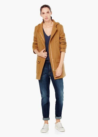 Abrigo lana capucha | MANGO 119,99€
