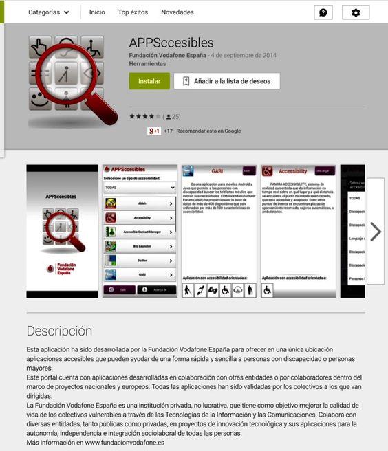 Muy recomendable:descargar Appsccesibles, soluciones accesibles varias e interesantes Android e IOS @FVESP @_CENTAC_