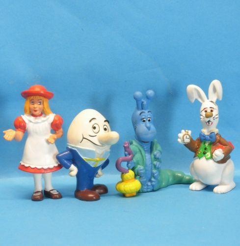 Alice-im-Wunderland-SCHLEICH-1985-Alice-Humpty-Raupe-Hase-4-Figuren-zusammen