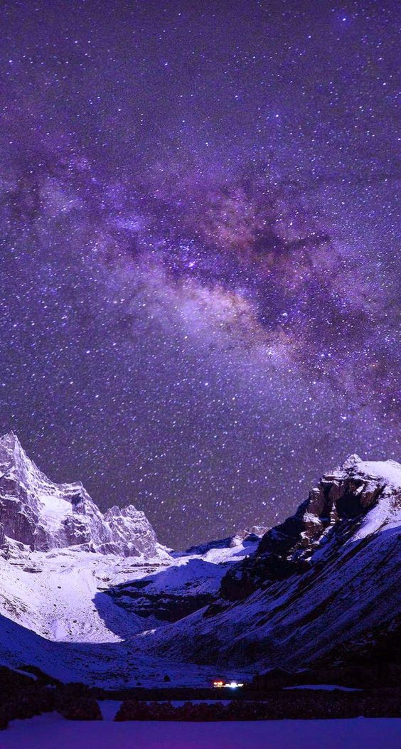 Milky Way Over Snow Mountains iPhone 6 Plus HD Wallpaper