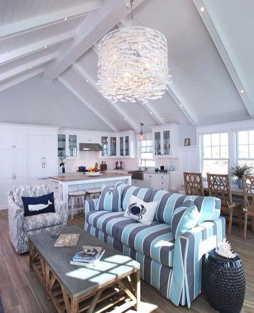 Grand Chandeliers For Coastal Style Living Beach House Living Room Coastal Living Rooms Custom Homes