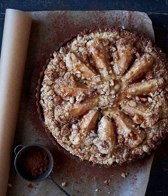 Pear, chocolate and ricotta tart :: Gourmet Traveller Magazine Mobile
