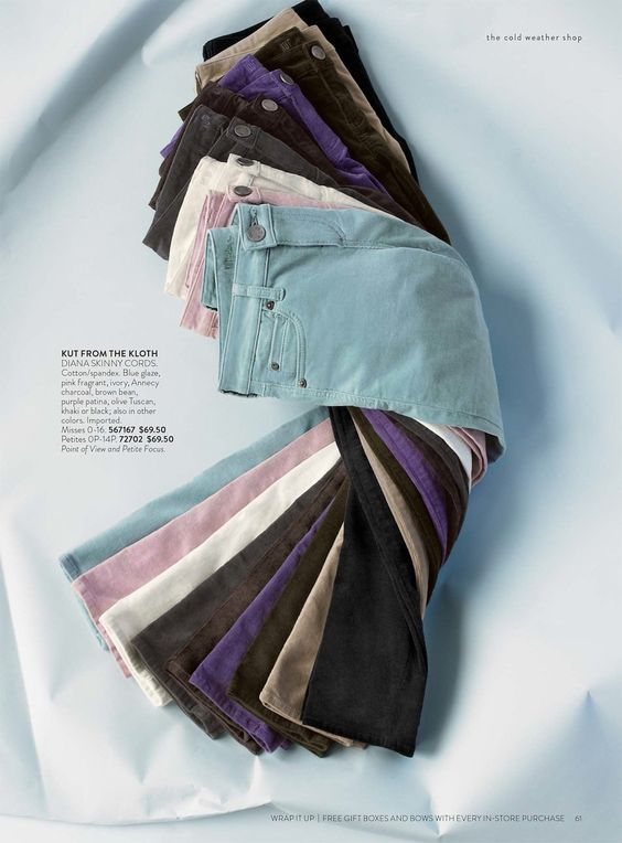 Product photography idea: how to show multiple color options or pattern options of the same article of clothing. This could be done with pants, shirts, dresses, etc.