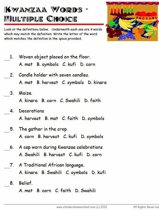 Kwanzaa, Worksheets for grade 1 and Vocabulary worksheets on Pinterest