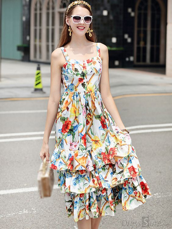 Buy Vintage Sweet Floral Braces Bubble Print Skater Dress with High Quality and Lovely Service at DressSure.com